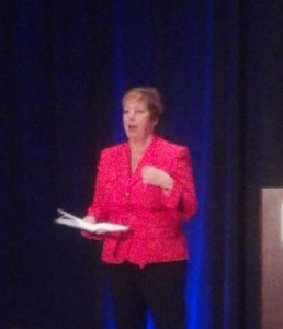 NCRA President Nancy Varallo gives her welcoming address at TechCon.