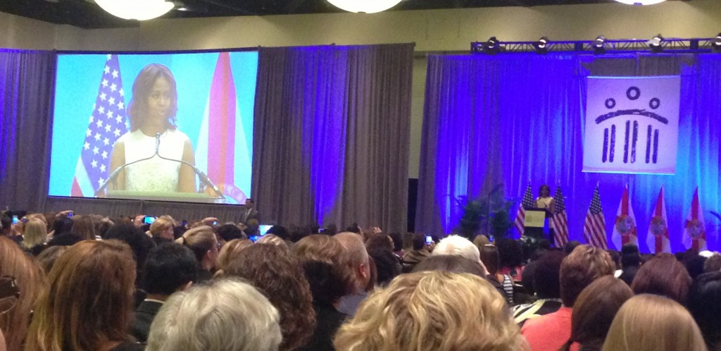 Michelle Obama addresses the attendees at ASCA