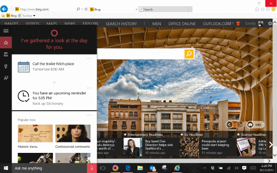 Windows 10 Cortana pane