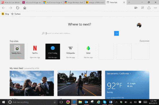 Windows 10 Web browser home page