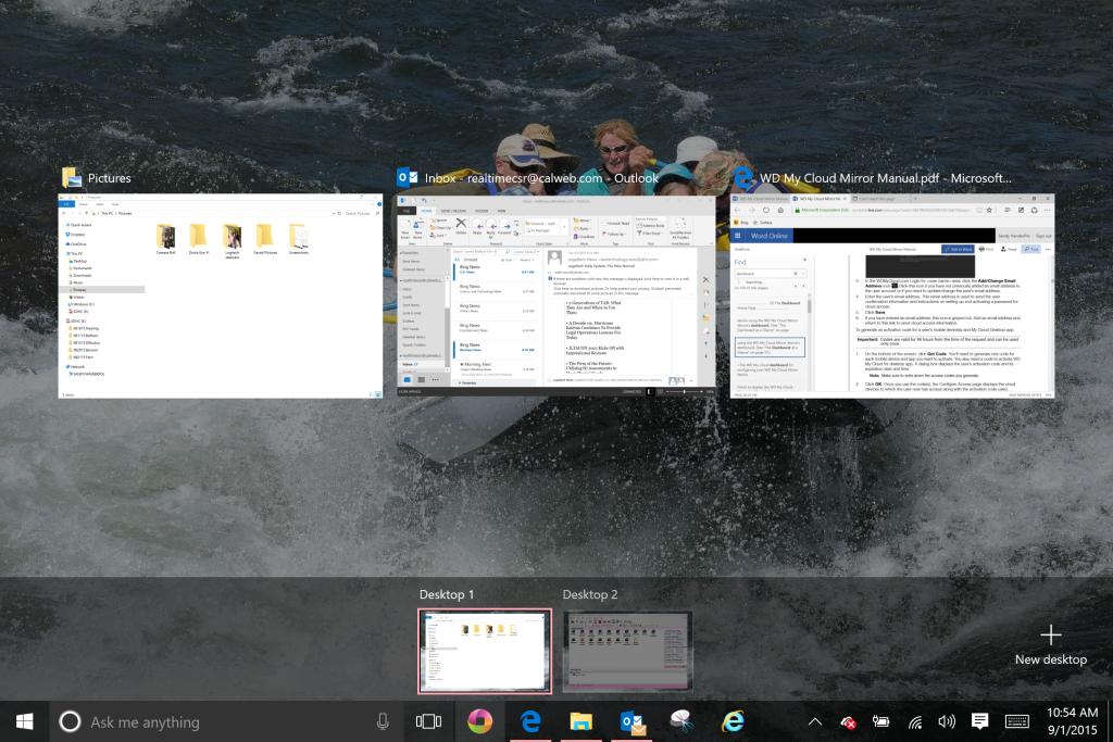 Windows 10 multiple desktops with task view
