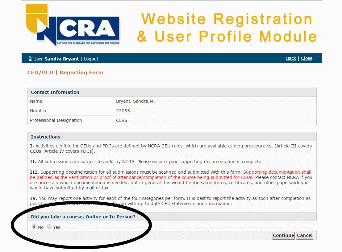 Submitting CEUs online_1