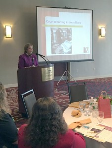 Nancy Varallo gives address at luncheon
