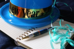 New Year's hat and notebook