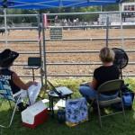 Lisa Richardson captions a rodeo