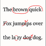 Text with red proofreading marks
