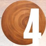 Number 4 overlaid a wooden stump