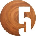 Number 5 overlaid a wooden stump