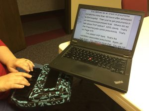 Ellen Heckle's CART captioning setup for a nursing class