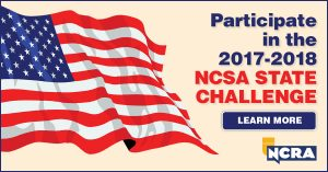 Image for NCSA challenge to promote court reporting and captioning: The American flag with the words
